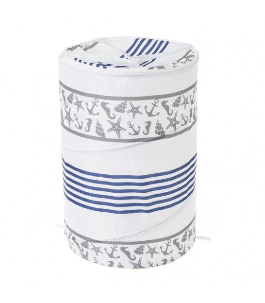 Laundry Basket Blue and White Petals