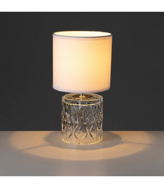 Table Lamp Beige and Transparent Glass Base - Height 29cm