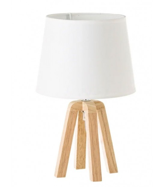 Table Lamp Wood and White Lampshade - Height 33.5cm