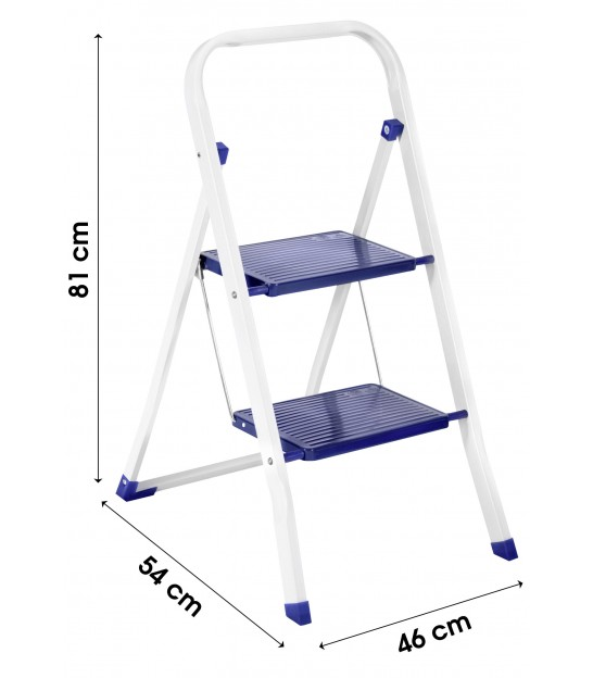 Metal 2 Steps Ladder White and Black Square Tube