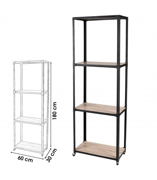 Wood and Black Metal Shelf Industrial Style - Height 140cm