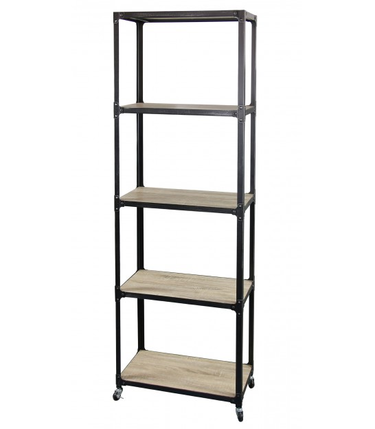 Wood and Black Metal Shelf Industrial Style - Height 180cm
