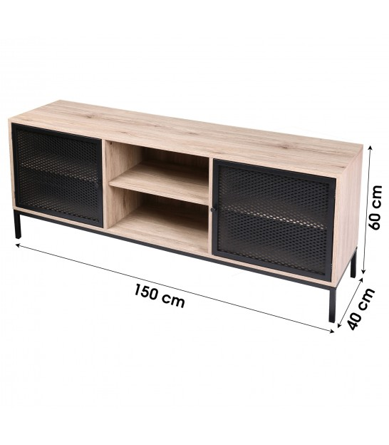 TV Stand Wood and Black Metal - 120x39.5x40cm