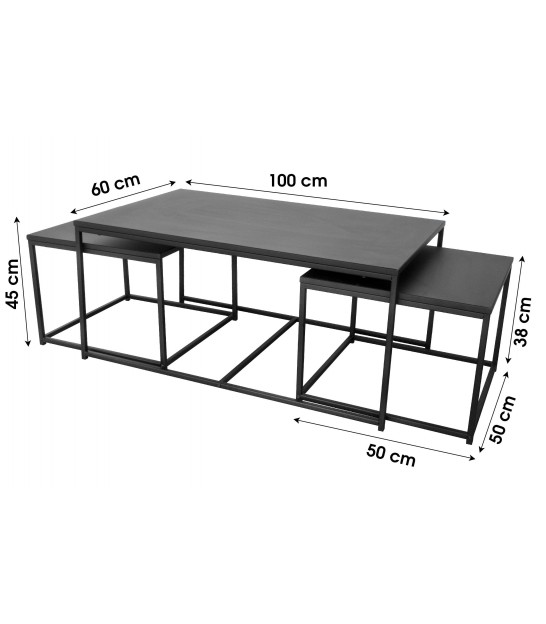 Nesting Table - MDF and Black Metal - Set of 3