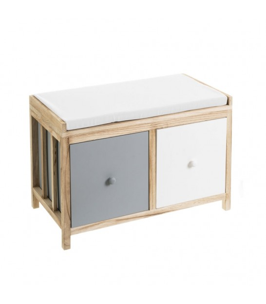 Entrance Bench Wood and Black 2 Drawers