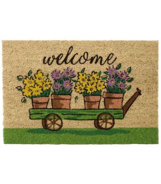 Coco Doormat Welcome Leaves - 60x40x1.5cm