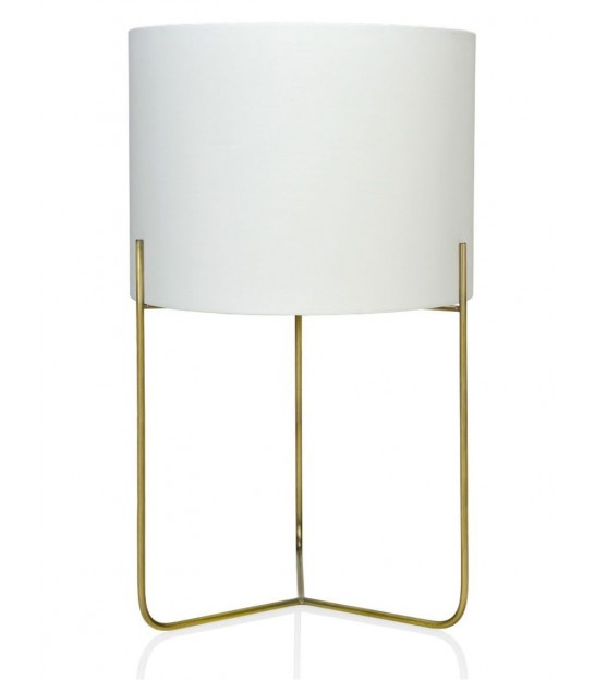 Table Lamp Brass Gold and White Lampe Shade