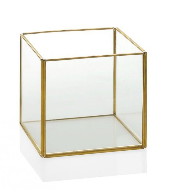 Square Glass and Golden Metal Terrarium