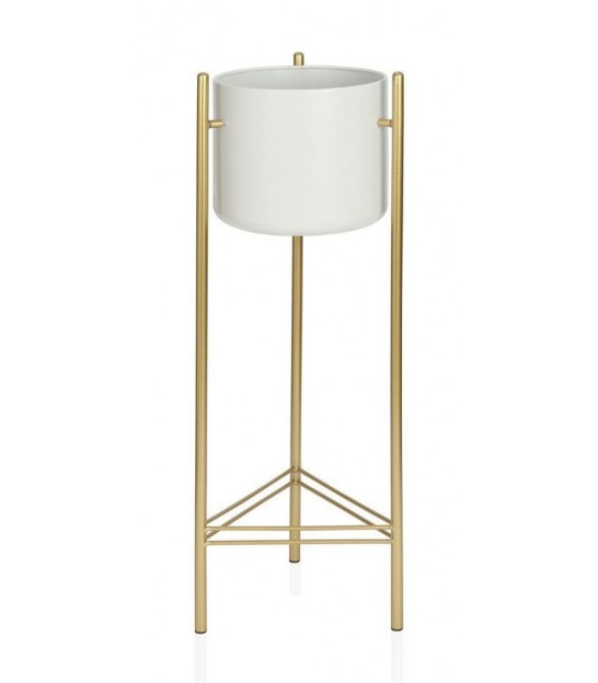 Plant Stand White and Gold Metal - Height 80cm