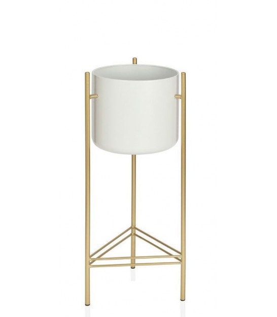 Plant Stand White and Gold Metal - Height 66cm