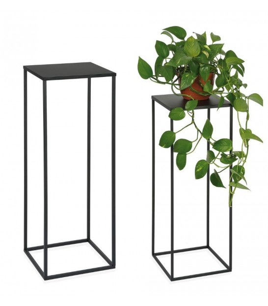 Set of 2 Wood and Metal Consoles - Height 70cm