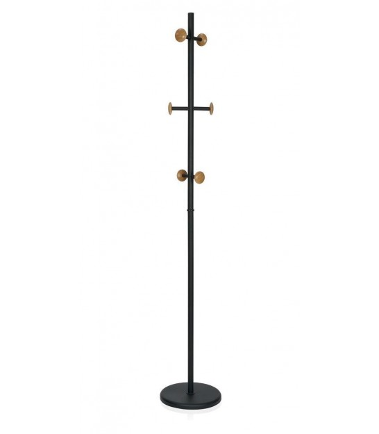 Black and Wooden Standing Coat Racks
