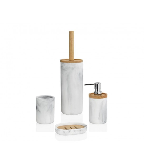 Soap Holder Polyresin White Marble Effect and Wood