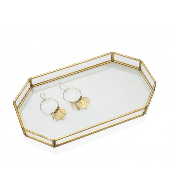 Golden Tray with Mirror Round - 30x5cm