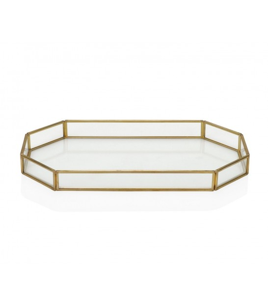 Decorative Tray Gold Brass and Glass