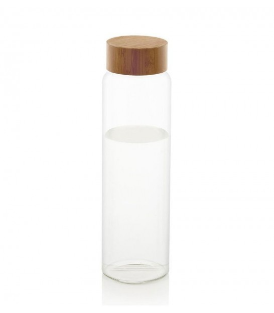 Transparent Water Bottle Glass with Bamboo Cap