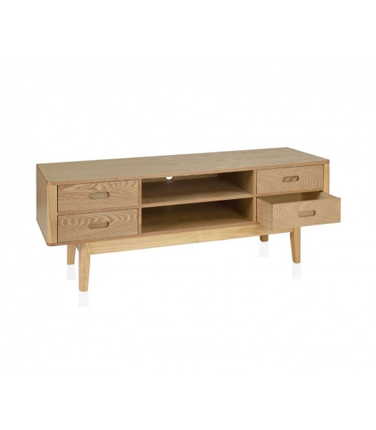 TV Stand White Wood MDF and White Metal 2 Drawers