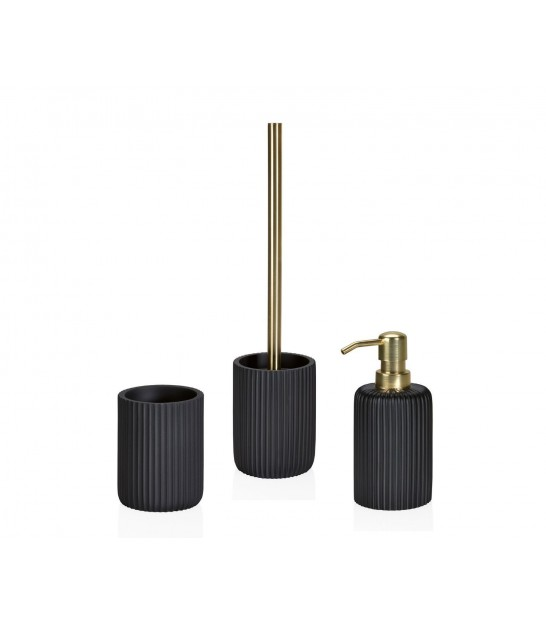 Toilet Brush Grey Cement and Gold Metal