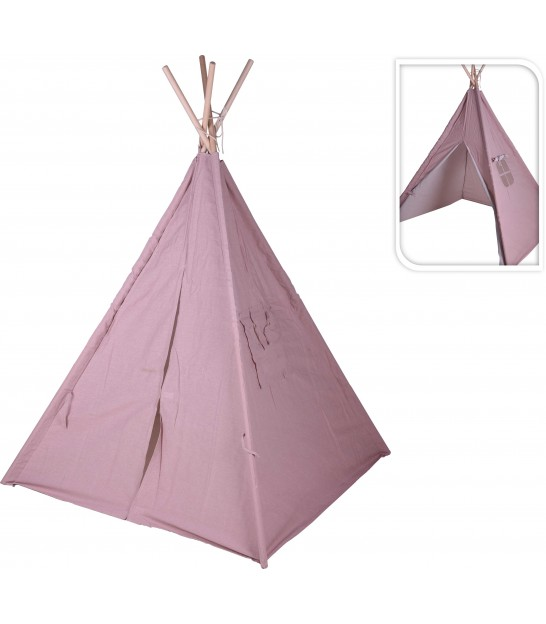 Children's Tipi Tent Pink and White