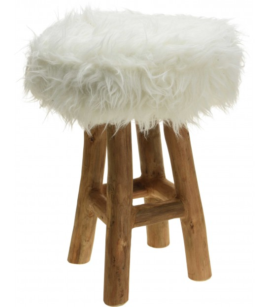 Stool Wood and White Fake Fur