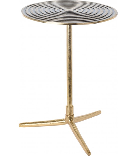 Round Side Table Gold Metal and Glass