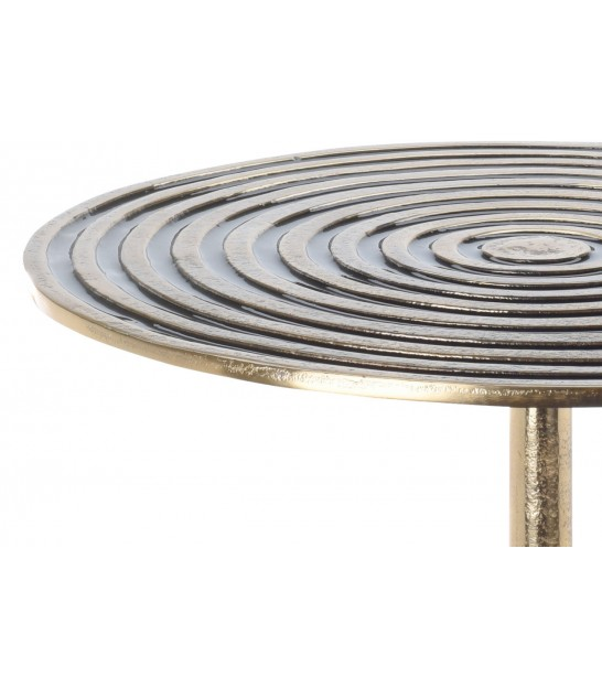 Round Side Table Black and Gold Metal