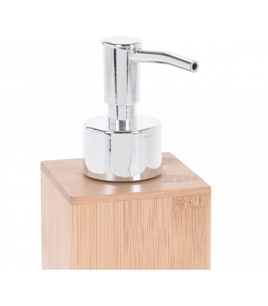 Soap Dispenser White and Bamboo
