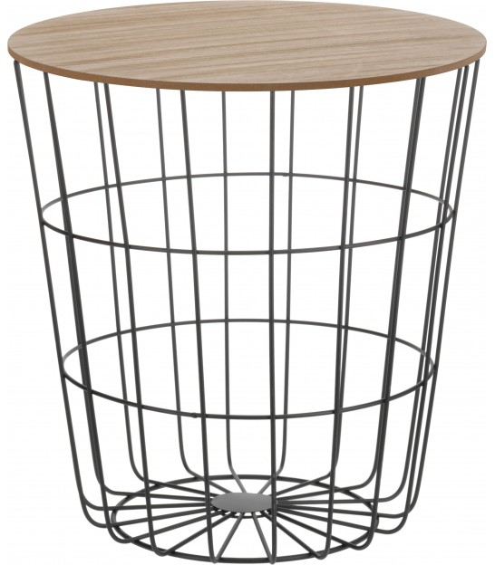 Wood and Metal Side Table - H40cm