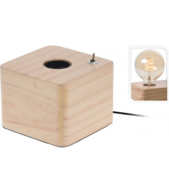 Square Table Lamp Metal White Marble Imitation