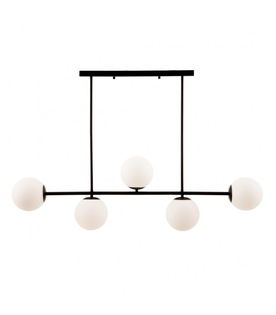Ceiling Lamp Goden Metal and White Glass - 3 Globes