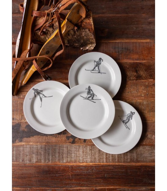 Set of 4 Plates White Ceramic Ski