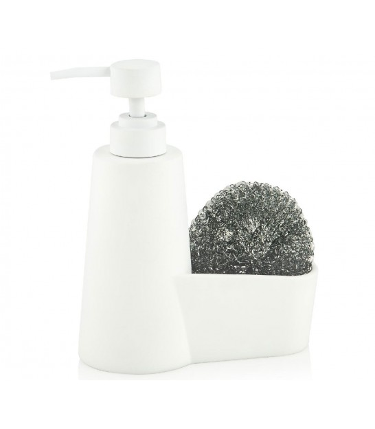 Soap Dispenser with Sponge Holder Ceramic Black Marble Effect
