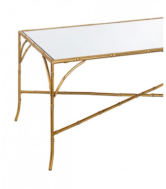 Set of 2 Low Round Tables Gold Metal and Mirror