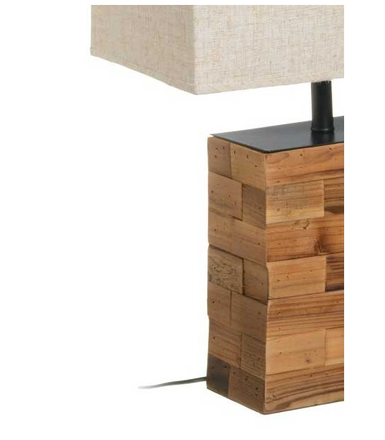 Table Lamp Wood and Beige Linen