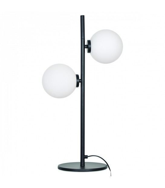 Table Lamp Glass and Black Metal