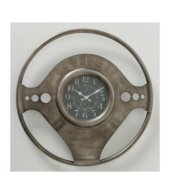 Round Wall Clock Black and Gold Metal Propeller