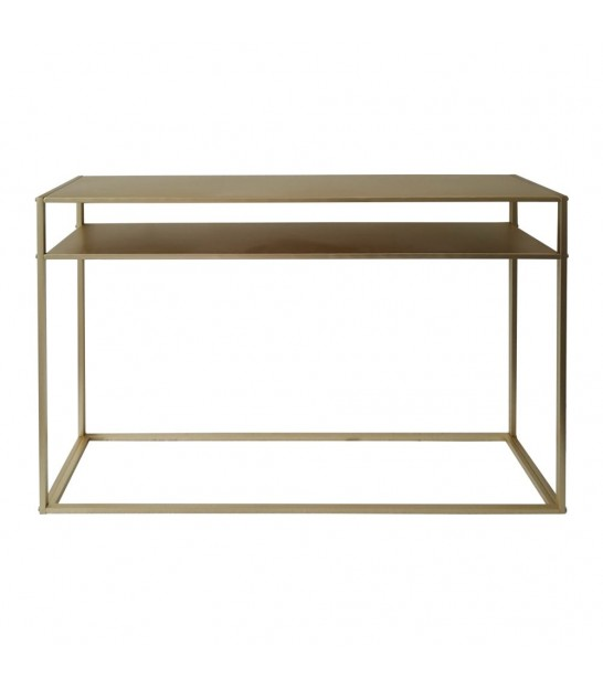 Entrance Console Golden Metal and Mirror Oriental Style