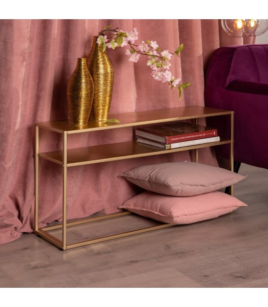 Coffee Table Gold Metal and Mirror
