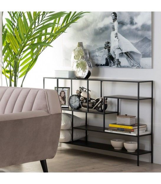 Console Table Black Metal and Glass