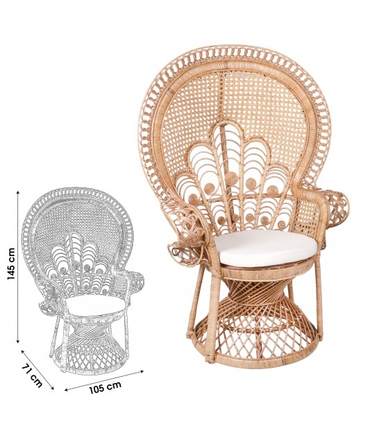 Rattan Chair with 2 Cushions