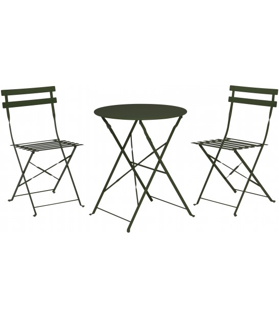 Green Foldable Garden Set Table + 2 Chairs