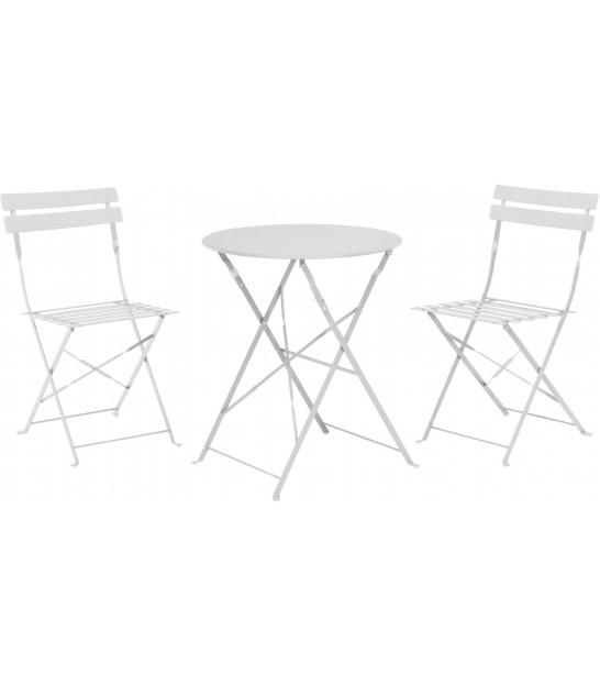White Foldable Garden Set Table + 2 Chairs