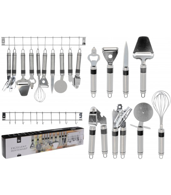 6 Pieces Kitchen Tool Set Stainless Steel Black and Chrome