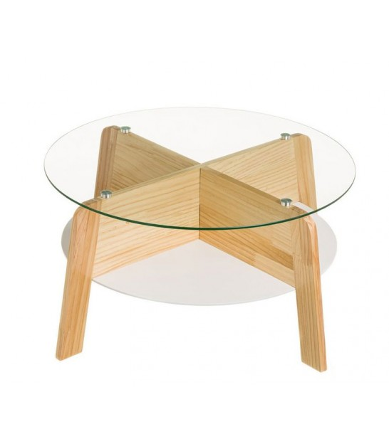 Round Coffee Table Wood and Glass