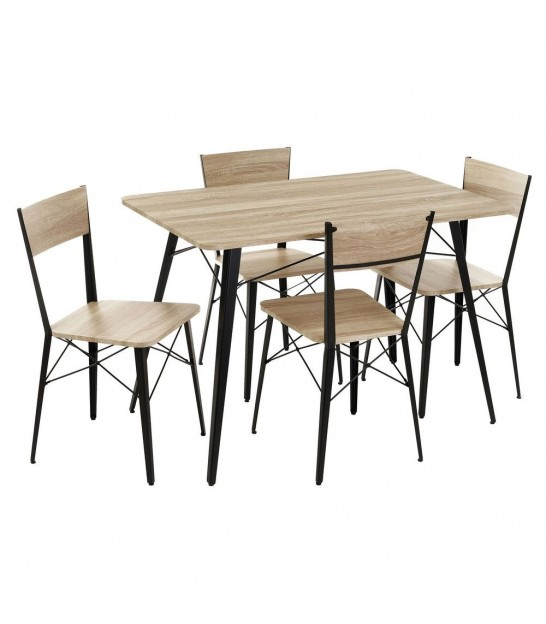 Dining Table Wood and Metal + 4 Chairs