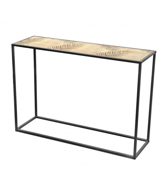 Console Table Wood MDF and Black Metal - 100cm