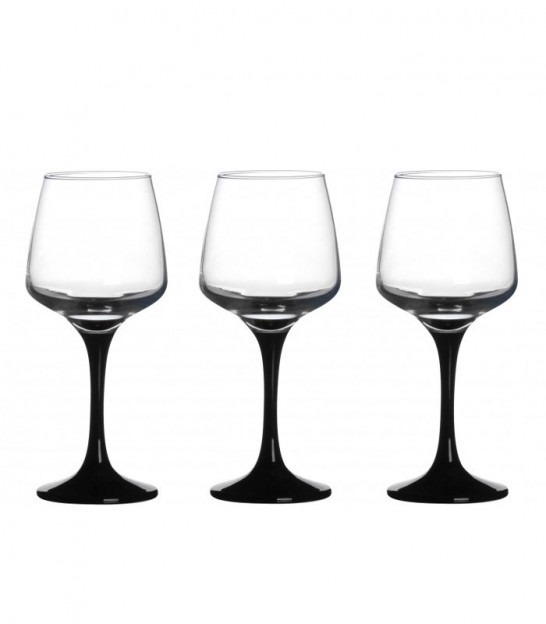 Set of 3 Water Glasses Black Foot - 33cl