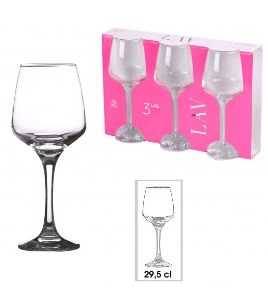 Set of 3 Water Glasses Transparent - 33cl