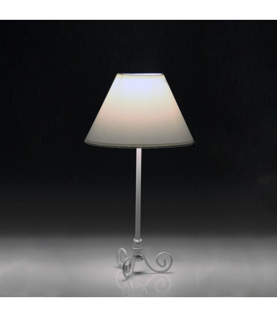 Table Lamp Black Metal and White Lampshade