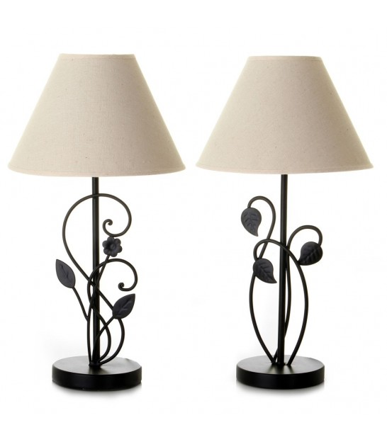 Set of 2 Table Lamps Black Metal and White Lampshades